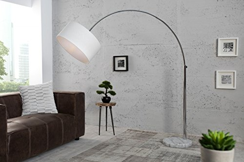 DuNord Design Bogenlampe Weiß LINEN - Leinen