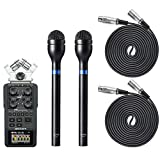 Movo Pro Recording Bundle with Zoom H6 Six-Track Portable Recorder, Dynamic Omnidirectional Handheld XLR Reporter Microphone (x2), and Balanced Male-to-Female XLR Microphone Cable (10 foot) (x2)