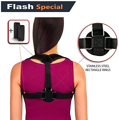 Back Posture Corrector for Women Men Kids by BV ♦ STANLESS STEEL CLASPs ♦ Fully Adjustable Breathable Comfortable & Effective Back Brace ♦ Perfect For for Slouching and Hunching by BV Company