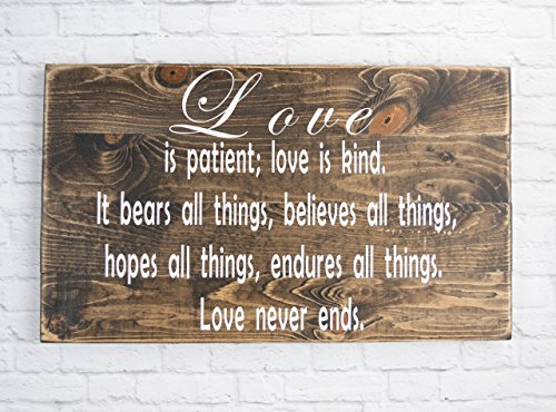 Love is patient dark walnut wood sign – Bible Verse Wall Art – Wood Sign Sayings Wedding gift