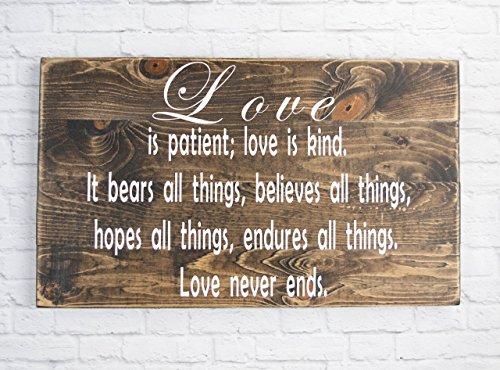 Love is patient dark walnut wood sign – Bible Verse Wall Art – Wood Sign Sayings Wedding gift