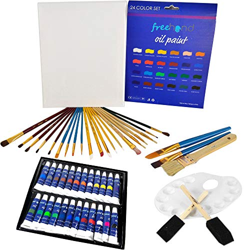 XXL Oil Paint Set - 24 Paints, 25 Brushes, 1 Canvas, and Art Palette - Oil Painting Supplies for Kids and Adults, Paint -