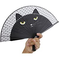 ULTNICE Silk Hand Painted Cartoon Cat Folding Fan