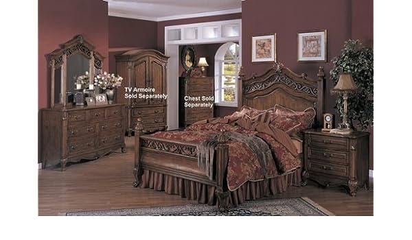Amazon Com 4pc Seville Antique Brown Queen Size Bed Bedroom