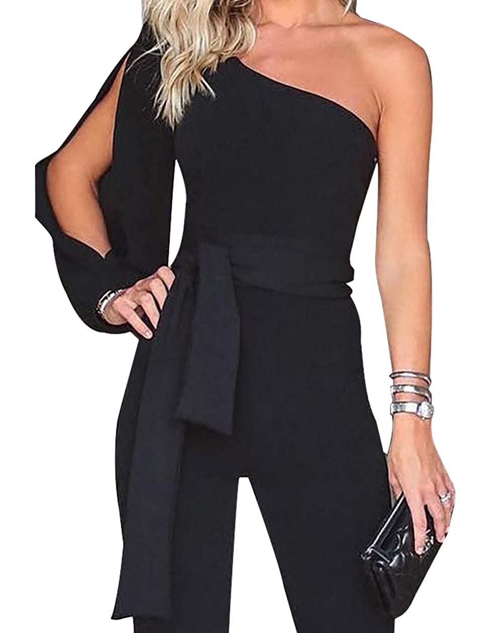 b27df922ec6 Voghtic Womens Elegant One Shoulder Long Sleeve Jumpsuits High Waisted  Romper with Belt