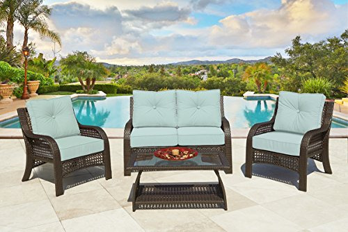 4-Piece Chelsea Cappuccino Resin Wicker Patio Loveseat, Chairs & Table Furniture Set - Kate Sky Cushions