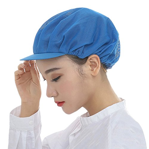 Jiyaru Mesh Chef Hat Restaurant Kitchen Working Catering Elastic Cap for Adults Blue (Cook Womens Cap)