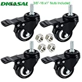 DICASAL 2'' Stem Casters, Heavy Duty Swivel Stem Casters PU Foam Quite Mute No Noise Castors Markless Wheels Double Bearings and Locks Loading 300 Lbs Pack of 4 with Brake Black