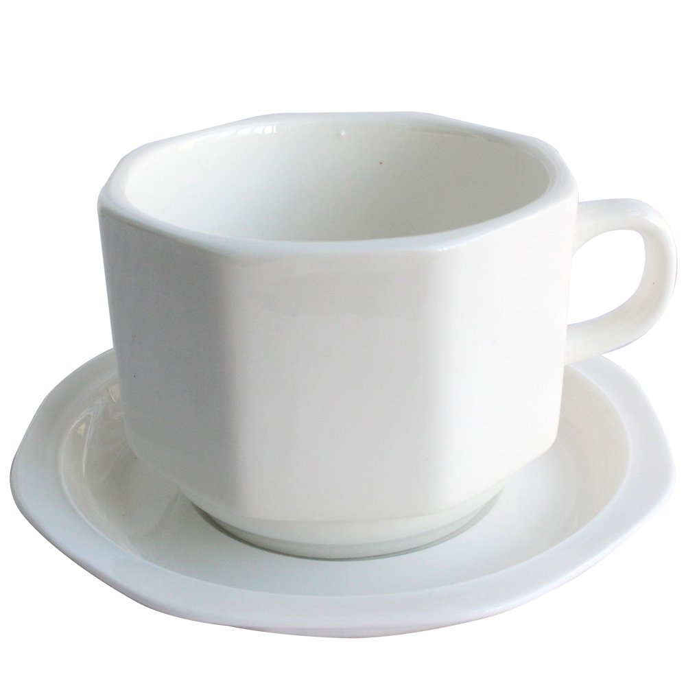 Tableware White Porcelain 5.5 Ounce Coffee Mug Set of 4 Wooden Handle with Saucer Ceramic Tea Cup 002
