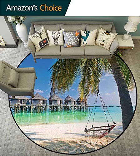 Beach Carpet Gray Round Area Rug,Hammock Under Palm Leaves in Heaven Beach Paradise Caribbean Peace Sun Summer Print Pattern Floor Seat Pad Home Decorative Indoor Diameter-51 Inch,Multicolor