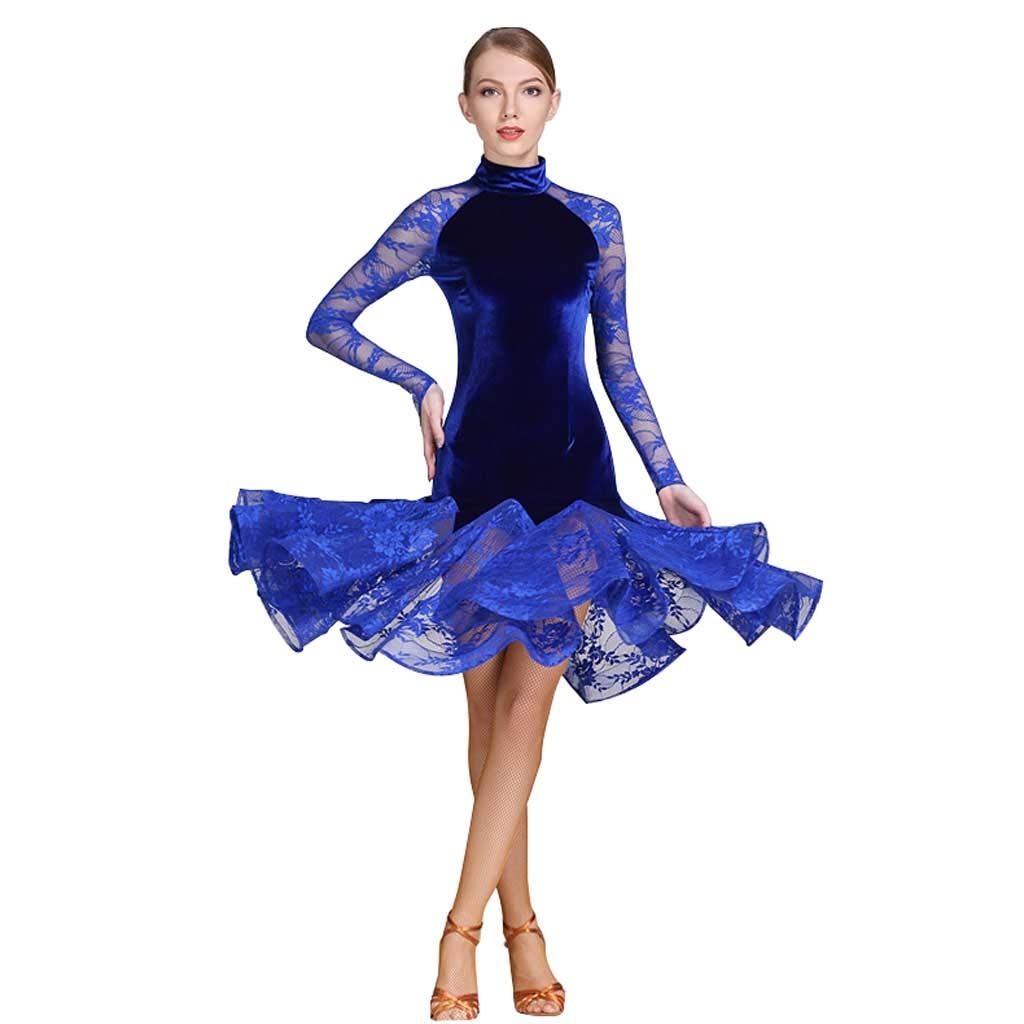 ラテンダンスドレス、コスチュームアダルトラテンダンスドレス ブルー M