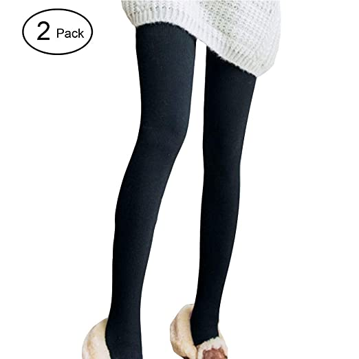 b0d644af477e2b HIENAJ Women's Ribbed Thick Fleece Lined Leggings Winter Warm Elastic High  Waist Tights at Amazon Women's Clothing store: