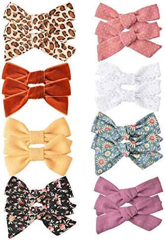 16 PCS Baby Girls Hair Bows Clips Hair Barrettes Accessory for Babies Infant Toddlers Kids in Pairs