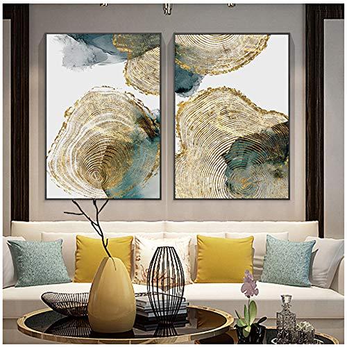 Cuadro en lienzo Textura de hoja y tronco Cartel abstracto Imagen nordica Decoracion moderna de la sala Arte de la pared Pintura 60x90cm (23 6x35 4) x2 Sin marco
