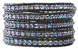Chan Luu Crystal Denim Iridescent Dark Grey Leather Wrap Bracelet bs-3469