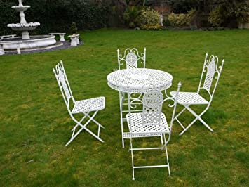 WHITE LATTICE CAST IRON GARDEN FURNITURE WROUGHT IRON PATIO SET