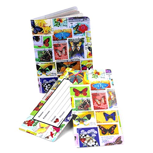 Pattern Postage Stamps - Butterfly Postage Stamps Travel Set- Passport Cover + 2 Large Luggage Tags