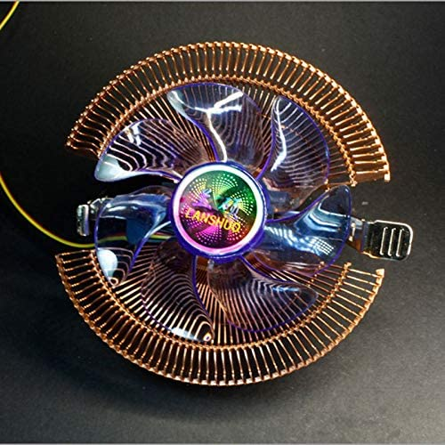 LANSHUO DC12V 3-pin Silent Cooling Fan CPU Cooler Heat Sink for Intel//AMD Support CPU with LED