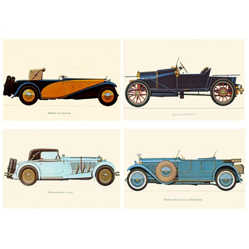 nava-4pcs-vintage-muscle-cars-jalopy-bugatti-delage-suiza-benz-canvas-wall-posters