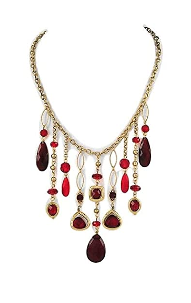 5be6686f04 Amazon.com: Red Bead Statement Necklace Set Fashion Jewelry (Box#20 ...