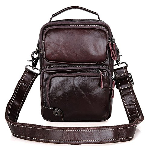 Everdoss Leather Mens Body Shoulder Bag Genuine Casual Coffee Cross Small f7vrwqf