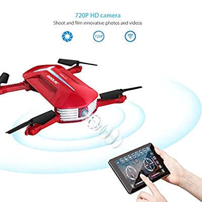 GoolRC T37 Mini Drone Foldable with Wifi Camera Live Video 2.4G 4 Channel 6 Axis Gravity Sensor RC Selfie Quadcopter RTF With Two Extra Battery by GoolRC