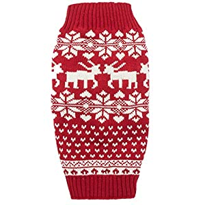 Red Christmas Reindeer Holiday Festive Dog Sweater for Large Dogs, X-Large (XL) Size