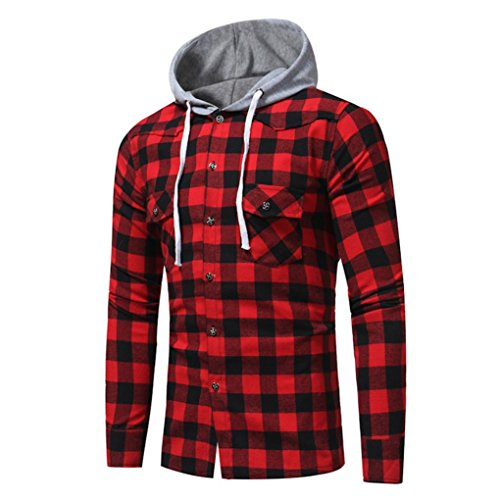 Siviki Men Hoodie, Men Long Sleeve Lattice Printed Plaid Hoodie Hooded Sweatshirt Tops Blouse (L, Red) Eagle Long Sleeve Polo