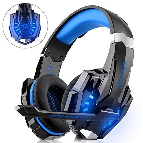 WILLNORN Gaming Headset for Xbox One, PS4, PC Controller Noise Cancelling Over Ear Headphones with Mic, LED Light, Bass Surround for Laptop Mac Games (Blue)