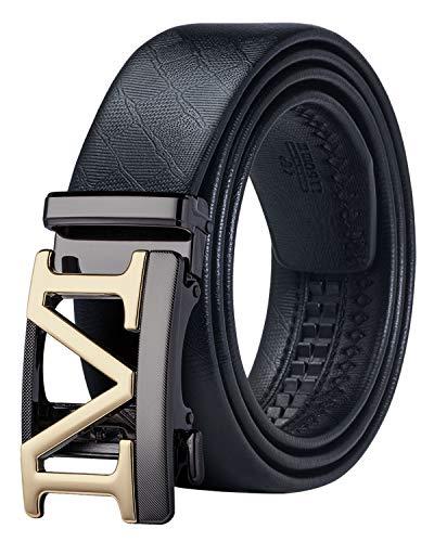 (Men Designer Belt Extra Long,Genuine Leather Rachet Dress Belt with Automatic Gold M)