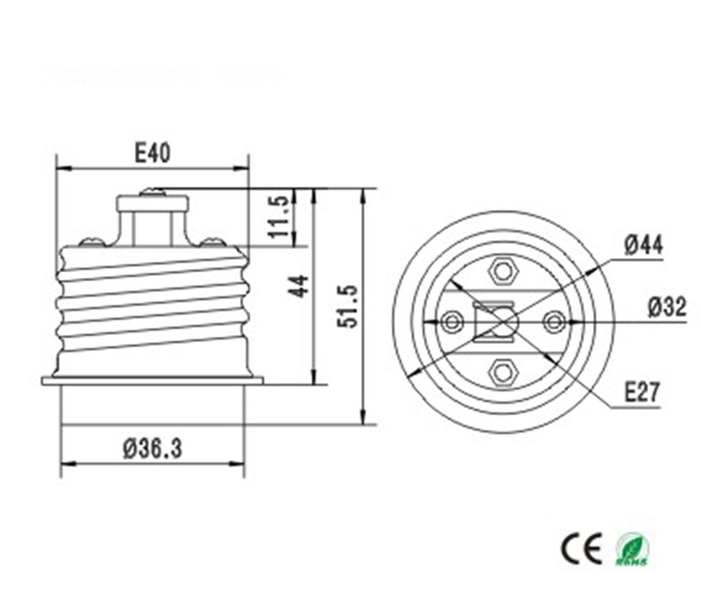 E-Simpo E39//E40 to E26//E27 Adapter Mogul E39//E40 to Medium E26//E27 Light Bulb Lamp Socket Converter 2-Pack, PBT Material