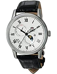 Orient Mens Sun and Moon Version 3 Japanese Automatic Stainless Steel and Leather Casual Watch, Color Black...