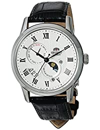 Orient Men's 'Sun and Moon Version 3' Japanese Automatic Stainless Steel and Leather Casual Watch, Color:Black (Model: FAK00002S0)