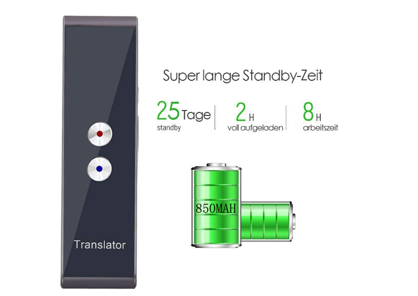 Bluetooth Smart Pocket Interpreter intelligenter /Übersetzer mit 42 Sprachen T4S-Schwarz Tragbarer Sprach/übersetzer in Echtzeit-Sprache