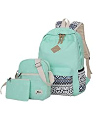 Veenajo Casual Lightweight Canvas Backpacks Cute Dot Bookbag Shoulder Bag School Backpack for Teen