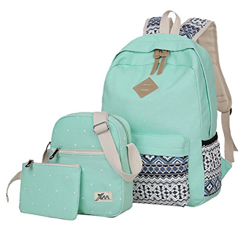Veenajo Casual Lightweight Cute Dot Canvas Laptop Bag Shoulder Bag School Backpack for Teen(Light Green) by Veenajo