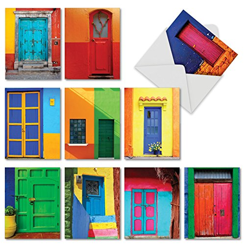 10 'Rainbow Doors' All Occasion Note Cards with Envelopes, Assorted Stationery Set, Blank Greeting Cards for Weddings, Baby Showers, Birthdays, Holidays, Thank You 4 x 5.12 inch M4622OCB-B1x10   - Photographs Christmas Cards