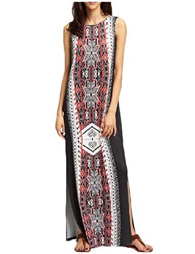 Coolred-femmes Style Ethnique Divisée Salon Sans Manches Robe Pleine Longueur Noir