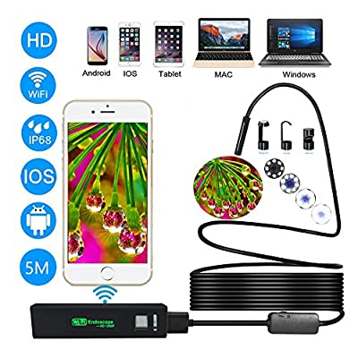 Wireless Endoscope, Huatop HD1200P Wifi USB Borescope Inspection Camera with 2.0 Megapixels, Semi-rigid Snake Camera for Android, IOS Smartphone, iPhone, Samsung, Tablet, PC - 16.4 Foot