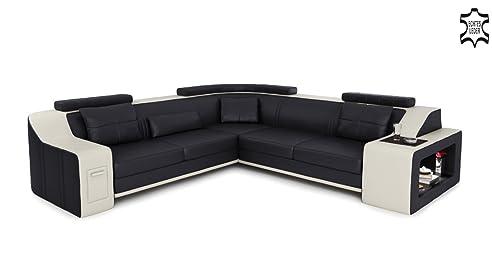 Ledercouch schwarz  Ledercouch Ecksofa schwarz / weiß L-Form Wohnlandschaft Leder ...
