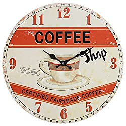 Lily's Home Retro Style 1960s Vintage Inspired Coffee Shop Kitchen Wall Clock, Complements a Minimalist or Old-Fashioned Décor, Battery-Powered with Quartz Movement (13 Diameter)