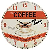 Cheap Lily's Home Retro Style 1960s Vintage Inspired Coffee Shop Kitchen Wall Clock, Complements a Minimalist or Old-Fashioned Décor, Battery-Powered with Quartz Movement (13″ Diameter)