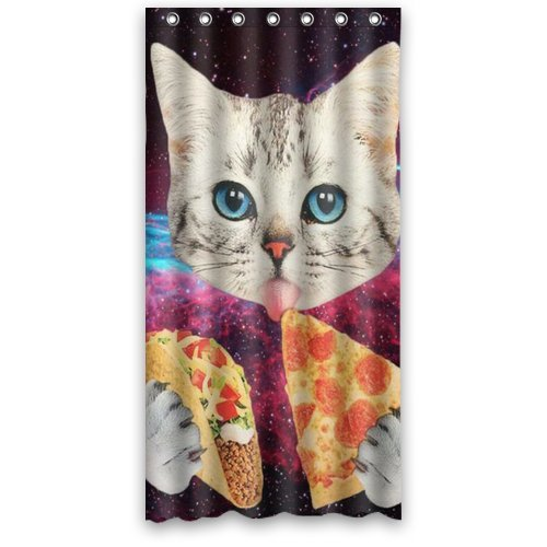 "Custom Waterproof Bathroom Eating Pizza Space Cat Shower Curtain Polyester Fabric Shower Curtain 36""(w)x 72""(h)"