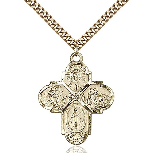 Gold Filled 4-Way Pendant 1 1/4 x 1 inches with Heavy Curb Chain by Bonyak Jewelry Saint Medal Collection