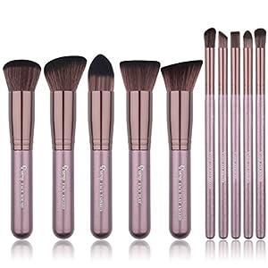 Qivange Makeup Brush Set, Synthetic Soft Flat Top Foundation Bronzer Eyeshadow Blending Kabuki Brush(10pcs, Coffee Gold)