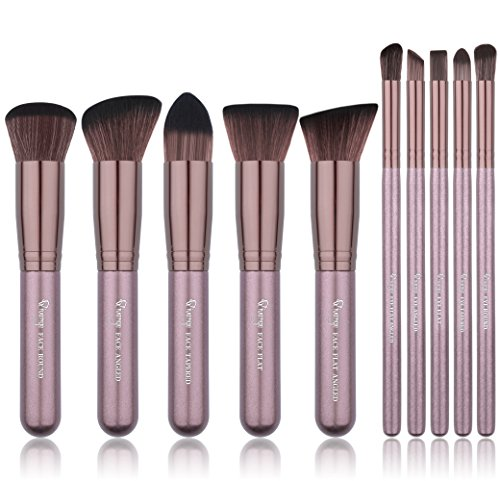 Qivange Makeup Brush Set, Synthetic Soft Kabuki Flat Top Foundation Bronzer Eyeshadow Labeled Makeup Brushes(10pcs, Coffee Gold)