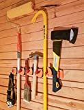 Multipurpose, Customizable Household Organizer by ARUA. Broom Holder,Mop Holder/Hanger,Hose Storage/Holder,Garage Organizer,Storage Solutions,Storage Ideas,Utility Rack With 5 Hooks and 5 Positions!
