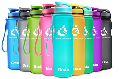 Grsta Sport Water Bottle 32oz(1000ml), Wide Mouth Leak Proof BPA Free Eco-Friendly Plastic Drink Best Water Bottles for Outdoor/Running/Camping/Gym w Flip Top Lid & Filter Open with 1-Click(Light B)