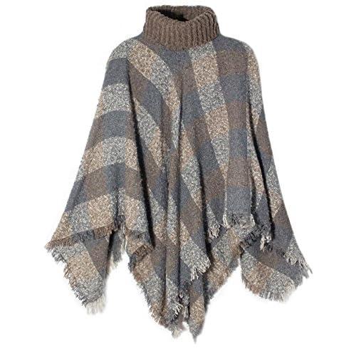 Wholesale Dahlia Women's Knitted Poncho - Coarse Plaid Turtleneck Cape free shipping