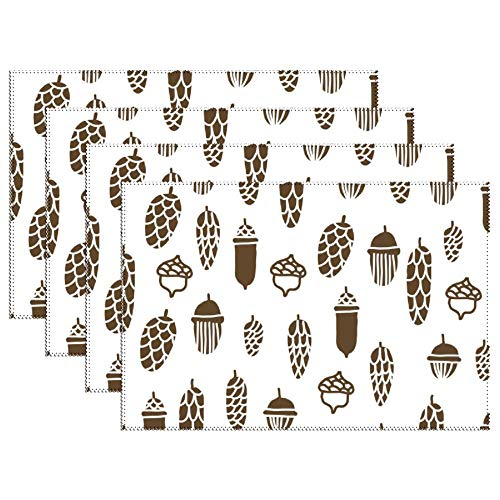 DKISEE Stain Resistant Placemats, Brown Pine Cones Pattern Anti-Skid Washable Polyester Table Mats Non Slip Washable Placemats, 12